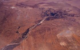 Картинка река, пустыня, Австралия, вид сверху