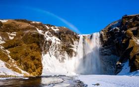 Обои скалы, водопад, зима, горы, снег, радуга