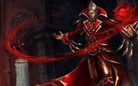 Обои league of legends, Vladimir, в красном, башня, магия, вода, мужчина