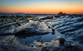 Картинка закат, скалы, небо, отлив, горы, водоросли, море