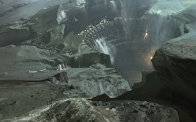 Картинка город, скалы, планета, дыра, проем, ущелье, водопады