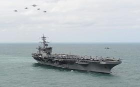 Обои USS Theodore Roosevelt, авиация, авианосец, океан, «Нимиц», типа, (CVN 71)