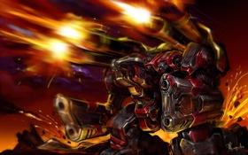 Обои огонь, мех, Terran, Starcraft, выстрелы, Тор