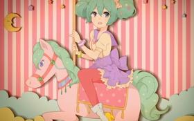 Картинка девушка, конь, месяц, арт, vocaloid, hatsune miku, звездочки