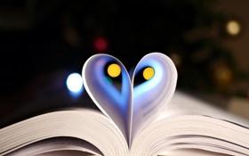 Обои сердце, листы, книга, страницы, боке