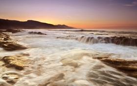 Картинка море, закат, камни, скалы, испания, spain