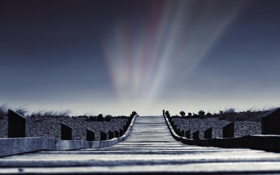Картинка небо, свет, столбы, пейзажи, дорожки, дорожка, мостики