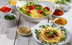 Картинка зелень, еда, мясо, помидоры, спагетти, специи, макароны