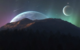Обои горы, планеты, небо
