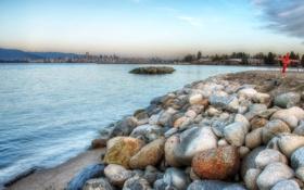 Картинка море, горы, город, камни, побережье, hdr, Канада