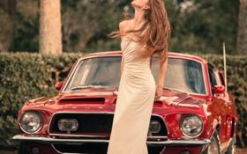 Картинка девушка, Mustang, Ford, Модель, red, мускул кар, muscle car
