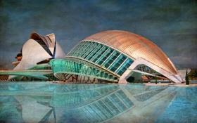Обои бассейн, небо, Валенсия, Испания, здание, hdr
