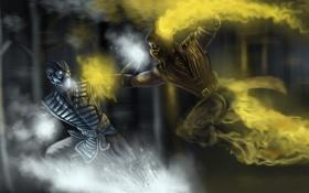Обои scorpion, fight, sub zero, mortal kombat x