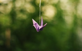 Картинка бумага, оригами, журавль, нитка