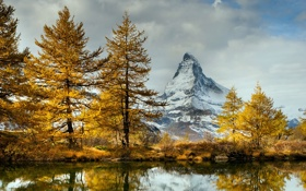 Картинка осень, пейзаж, горы, озеро