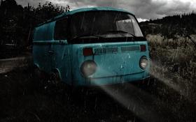 Обои свет, машины, ночь, дождь, настроение, volkswagen