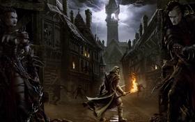Обои город, молнии, башня, засада, тени, факел, мужчина
