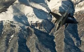 Картинка ландшафт, истребитель, полёт, F-16, Fighting Falcon, «Файтинг Фалкон»