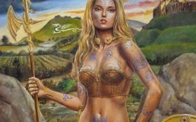 Обои взгляд, девушка, лицо, пожар, огонь, дракон, крылья