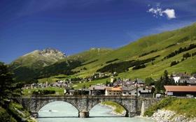 Обои горы, мост, река, камни, дома, Швейцария, склон