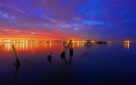 Обои небо, облака, огни, озеро, лодка, вечер