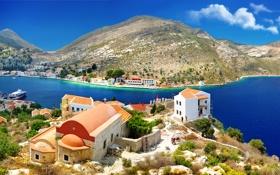 Обои река, побережье, дома, горы, Kastelorizo, Греция