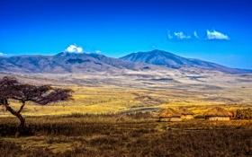 Обои облака, долина, небо, деревня, дерево, горы, Танзания