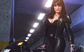 Картинка девушка, значок, мотоцикл, униформа, полицейский