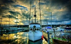 Картинка небо, Poulsbo Marina, причал, Washington, яхта, лодка, тучи
