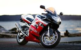 Обои красный, мотоцикл, red, Suzuki, сузуки, GSX