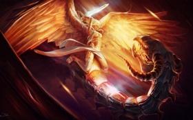 Картинка ангел, демон, Арт, меч, удар, свет