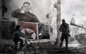 Картинка велосипед, плакат, солдат, лидер, Homefront, КНДР, Ким Чен Ын