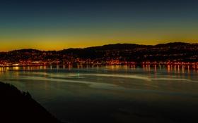Обои горы, ночь, город, огни, Новая Зеландия, залив, сумерки
