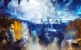 Картинка Warrior, snow, cave, thief, Mage, Trine 2, enemies