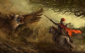 Обои птица, монстр, меч, воин, арт, пасть, повозка