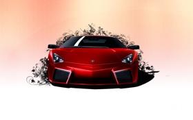 Обои морда, Lamborghini Reventon, красная, злая