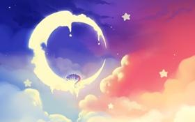Обои небо, звезды, облака, дракон, сон, месяц, арт