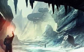 Картинка зима, снег, горы, люди, скалы, станция, арт