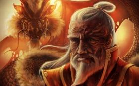 Картинка дракон, старик, Avatar, шрам, old, fan art, Zuko