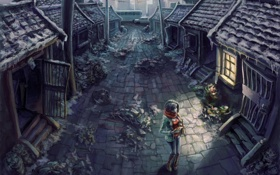 Обои девушка, дома, разруха, одинокая, брошенные, Scaring scenery
