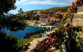 Картинка море, горы, город, дома, курорт, природа., Croata