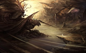 Картинка скалы, дракон, монстр, воин, арт, ущелье, всадник