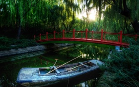 Картинка лес, мост, река, лодка