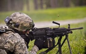 Обои солдат, полёт, экипировка, гильзы, пулемёт, ручной, M249