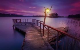 Обои озеро, пирс, фонарь, Литва
