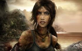 Картинка повязка, Lara Croft, небо, Tomb raider, девушка, кровь, грязь
