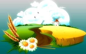 Обои облака, колосья, небо, поле, ромашки, птицы, мельница
