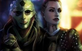 Обои девушка, арт, татуировки, Mass Effect, персонажи, Jack, Thane