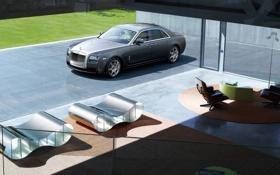 Обои авто, дом, Rolls Royce, Ghost, стекла, роллс ройс