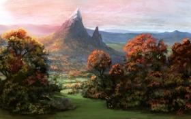 Обои art, осень, трава, деревья, горы, снег, небо